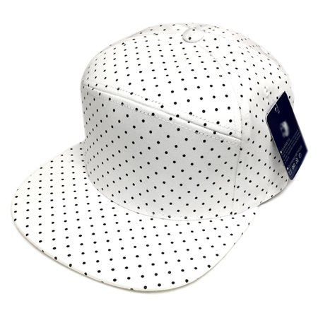 Unisex 6 Panel Polka Dot Pattern Fashion Adjustable Flat Bill Cap  White Black 0153593748d
