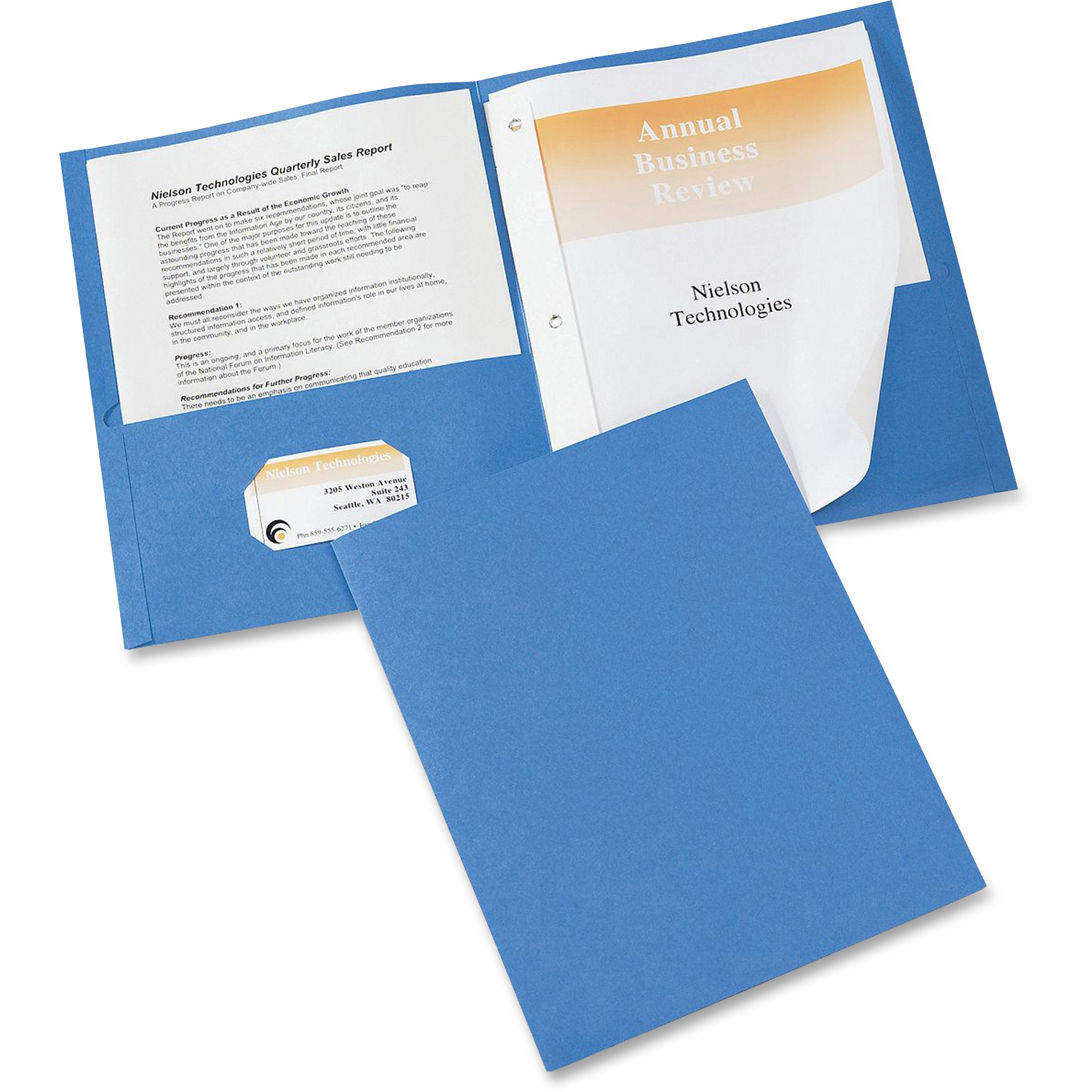 "Avery Two-Pocket Folder, Prong Fastener, Letter, 1 2"" Capacity, Light Blue, 25 Box by Avery"