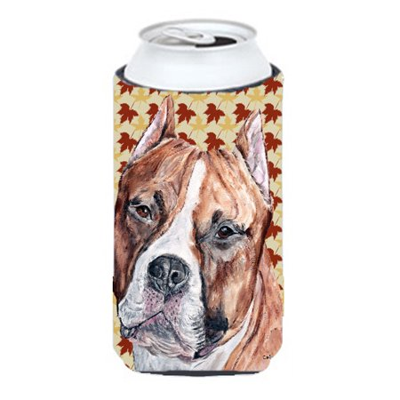 Staffordshire Cottage (Staffordshire Bull Terrier Staffie Fall Leaves Tall Boy Beverage Insulator Hugger SC9680TBC)