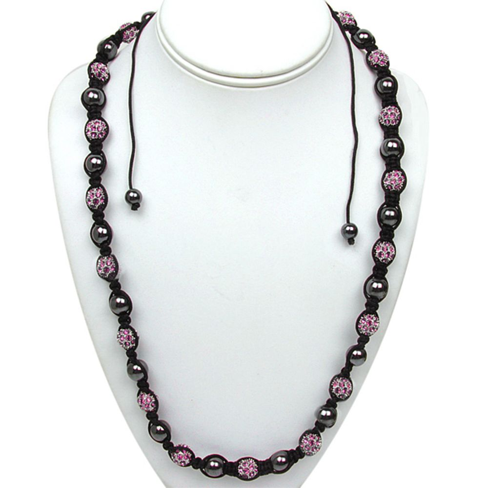 """10mm Purple Micro Pave Crystal Ball and Black Ball Adjustable Necklace (23""""-36"""")"""