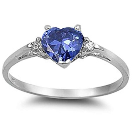 Synthetic Tanzanite Heart Clear CZ Ring Sterling Silver Size 5