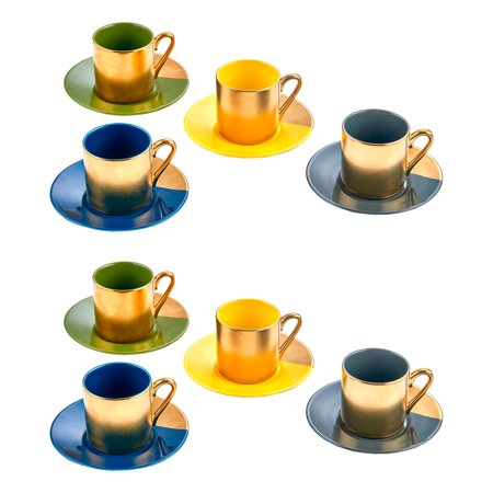 Yedi Houseware Classic Coffee and Tea Pastel & Gold Cups and Saucers, Set of 8