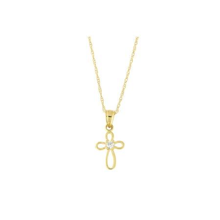 8f7bc414b31f29 Beauniq - 10k Yellow Gold Cubic Zirconia Open Cross Pendant Necklace -  Walmart.com