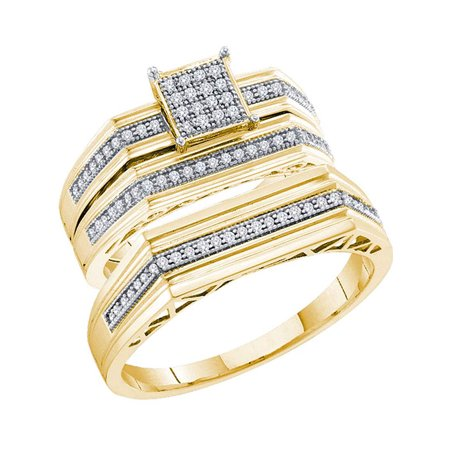 10kt Yellow Gold His & Hers Round Diamond Cluster Matching Bridal Wedding Ring Band Set 1/4 Cttw - image 1 of 1