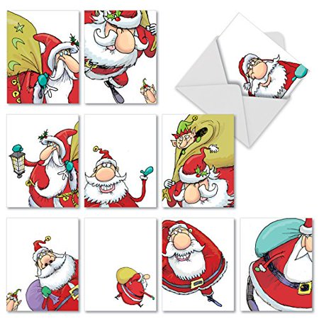 ('M2325 M2325 Santastic' 10 Assorted Merry Christmas Note Cards Featuring Fun Cartoon Imagery Of Jolly St. Nick with Envelopes by The Best Card Company)