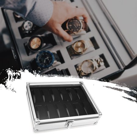 12 Slots Aluminum Alloy Watch Organizer Storage Box Flip Cover Showcase - image 3 of 6