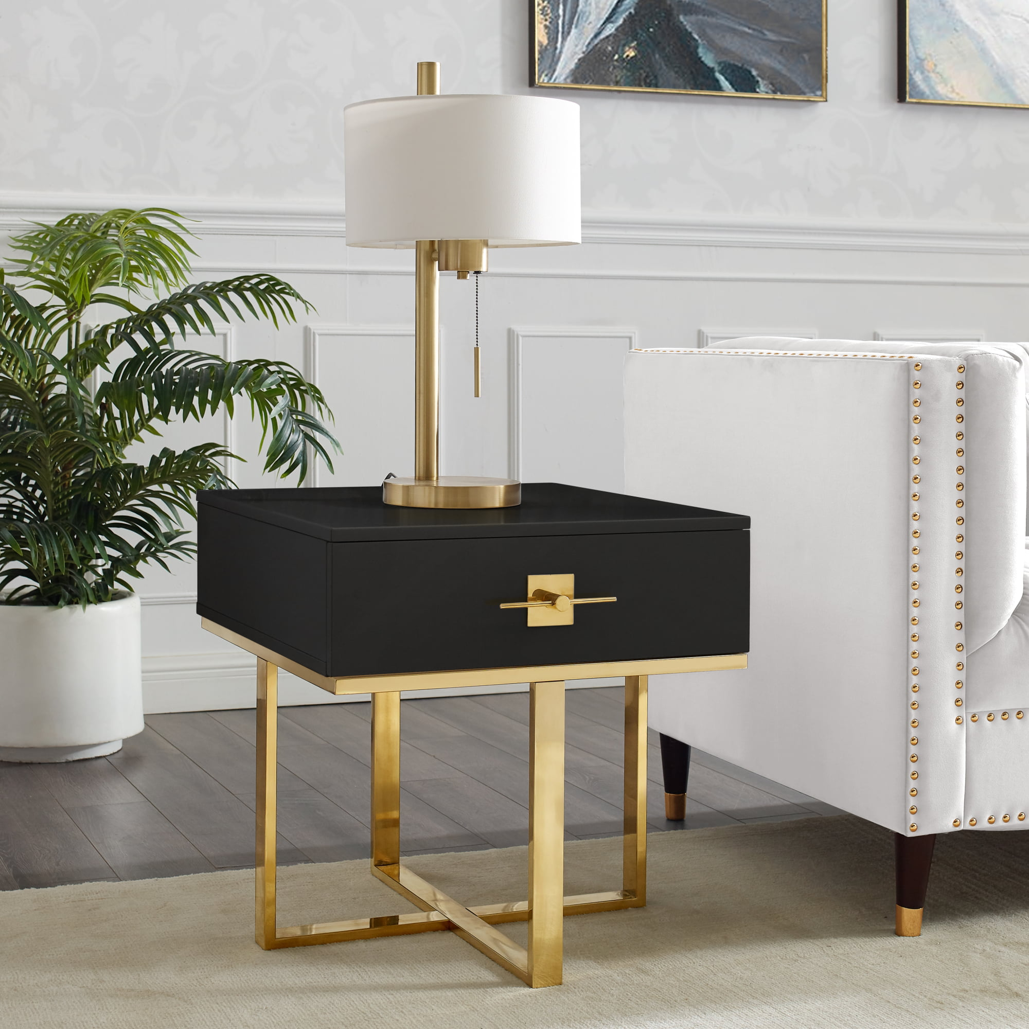 Nicole Miller Meli Side Table End Table Nightstand 1 Drawer Hight Gloss Lacquer Finish Polished Stainless Steel Base Black Gold Walmart Com Walmart Com