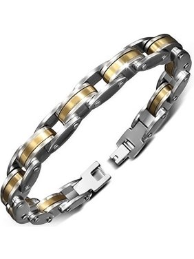 Product Image Stainless Steel Silver-Tone Yellow Gold-Tone Link Mens Bracelet