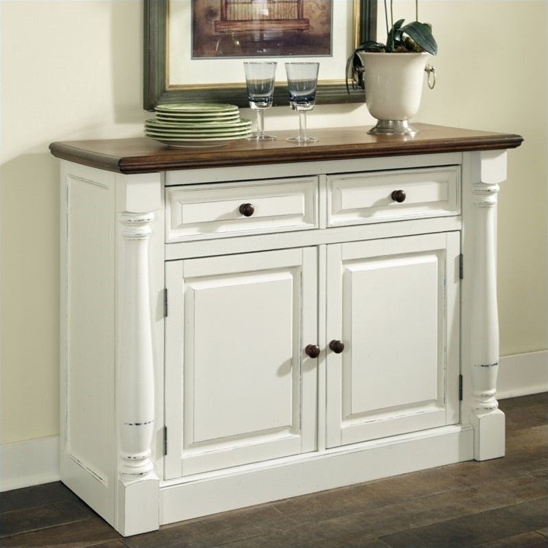 Home Styles Monarch Buffet in White and Oak Finish by HomeStyles