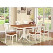 East West Furniture NAAV9-WHI-W 9 Piece Dining Set-Table With A Leaf and 8 Chairs For Dining