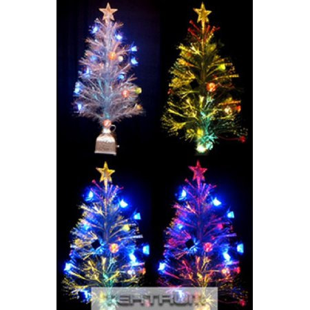 Tektrum 36 Christmas Rainbow Color Changing Fiber Optic Lights Tree With Ornaments For Christmas Holiday Party