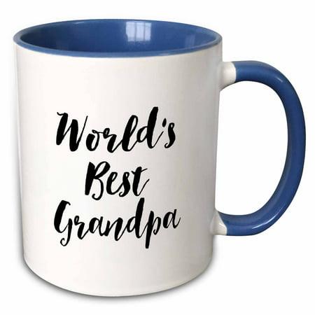 3dRose Phrase - Worlds Best Grandpa - Two Tone Blue Mug,