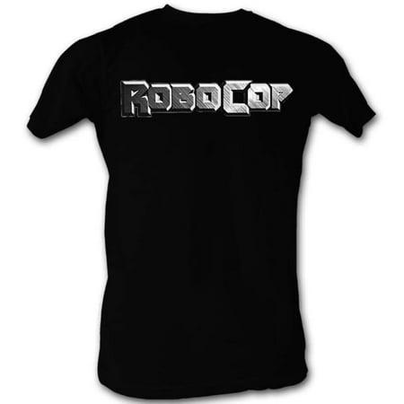 Robocop LOGO IN SILVER Small Cotton T-shirt Black Adult Men's Unisex Short Sleeve