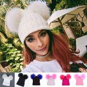 Fur Ball Winter Warm Women Knit Ski Beanie Ball Wool Cuff Hat Ski Cap Crochet