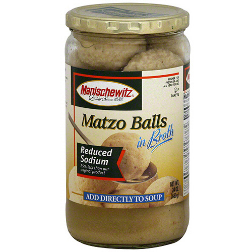 Manischewitz Reduced Sodium Matzo Ball In Broth, 24 oz (Pack of 12)