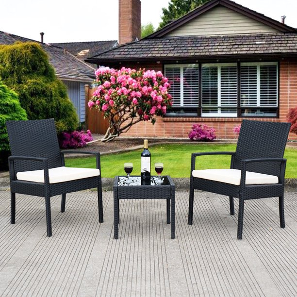 3 PC Outdoor Rattan Patio Furniture Set Backyard Garden Furniture with White Cushions