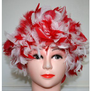 Mix Red and White Chandelle Feather Wig Halloween Costume Wig (Electro Mix Halloween)