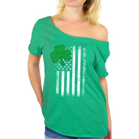 Awkward Styles Irish American Off Shoulder Shirts Irish Clover Flowy Top for Women St. Patrick's Day Baggy T-Shirts Lucky Irish Tshirt Off The Shoulder Irish American Women's St. Paddy's Outfit (St Paddys Day Outfits)