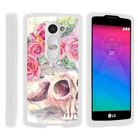 Lg Leon C40  Sunset L33l  Tribute 2 Ls665   Snap Shell  White  Hard White Plastic Case With Non Slip Matte Coating With Custom Designs   Flower Skull