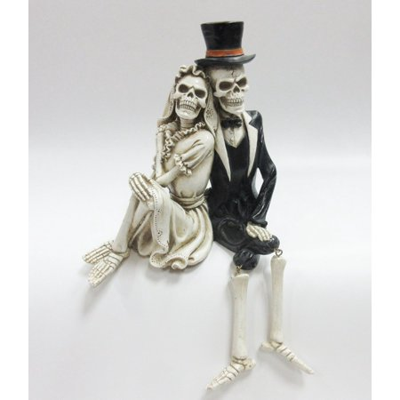 Day of the Dead Skeleton Wedding Couple Shelf Sitter Figurine 8 inch - Day Of Dead Couple