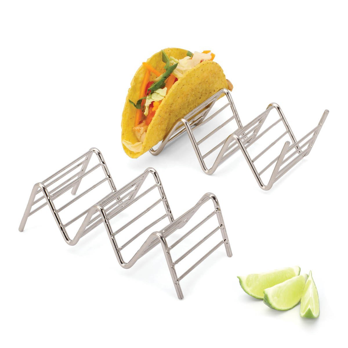 Taco Holders Taco Stand Rack Stainless Steel Taco Shell Pack of 4 Hold Up to 12 Tacos Stackable Trays for Soft /& Hard Tacos with Oven /& Dishwasher Safe