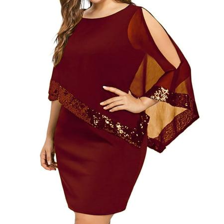 Women Plus Size Cold Shoulder Overlay Asymmetric Chiffon Strapless Sequins Dress