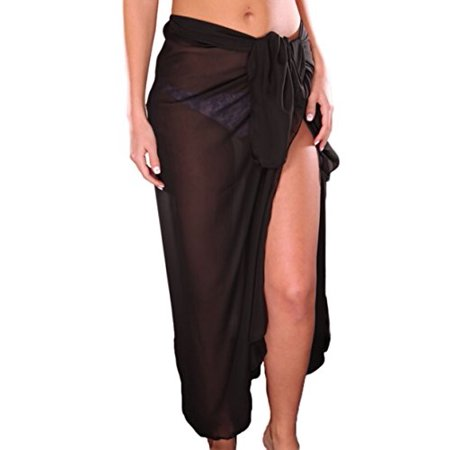 Tc Soft Lightweight Swim Beach Sarong Wrap Skirt Cover Up Black