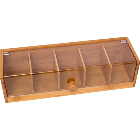 Tuck Box Tea Room - Lipper International Bamboo & Acrylic Tea Box, 5-Sections