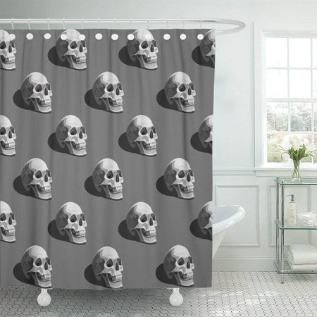 BPBOP Black Bone Halloween Pattern with Skulls on Dark Grey Colorful Creepy Darkness Death Dirty Event Shower Curtain 60x72 inch