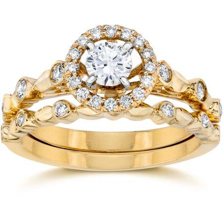 .60Ct Halo Diamond Engagement Wedding Ring Set 14K Yellow ...