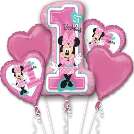 Minnie Mouse 1st Birthday Authentic Licensed Theme Foil Balloon Bouquet - Candy Themed Balloons