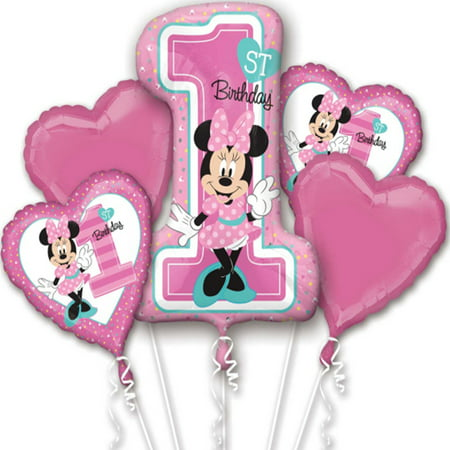 Minnie Mouse 1st Birthday Authentic Licensed Theme Foil Balloon Bouquet - Minnie Mouse Theme For 1st Birthday Party