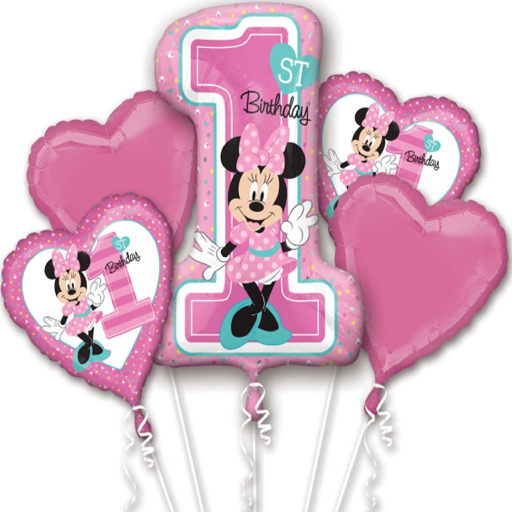 Minnie Mouse 1st Birthday Authentic Licensed Theme Foil Balloon Bouquet