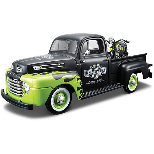 Harley Davidson Themed 1:24 1948 FL Panhead + 1:24 1948 Ford F-1 Pickup by Generic
