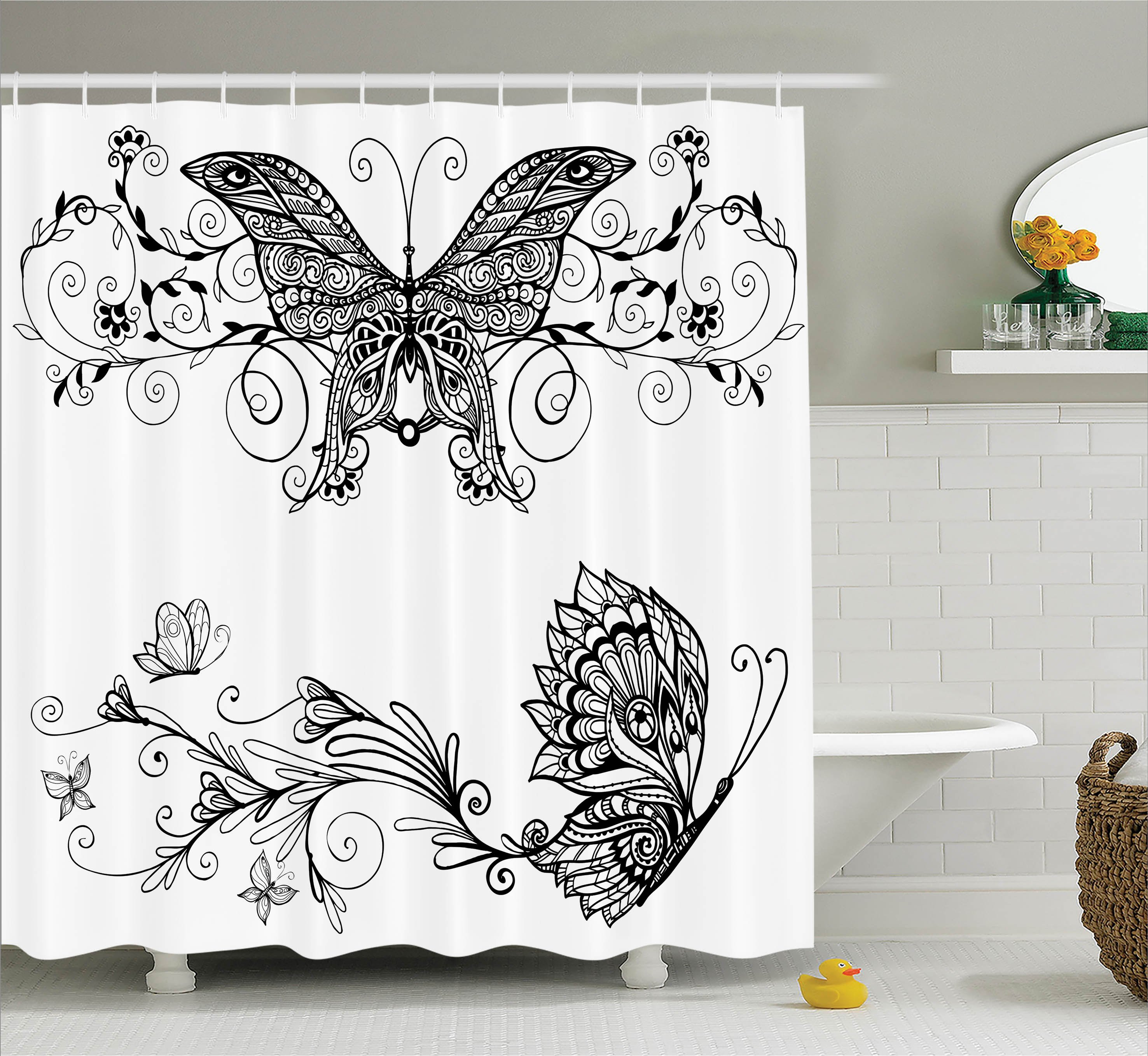 House Decor Shower Curtain, Butterfly Floral Mandala Patterns Bohem  Decorations Butterfly Wings Picture, Fabric