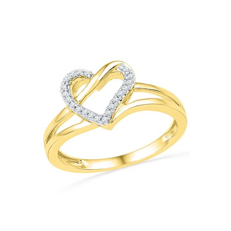 10kt Yellow Gold Womens Round Diamond Heart Outline Ring 1/20 Cttw - image 1 de 1