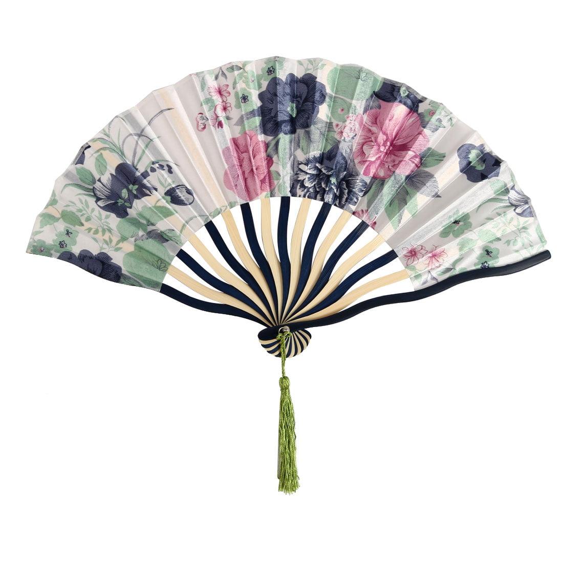 Women Dancing Polyester Flower Pattern Party Dance Tassel Hand Folding Fan - image 5 de 5