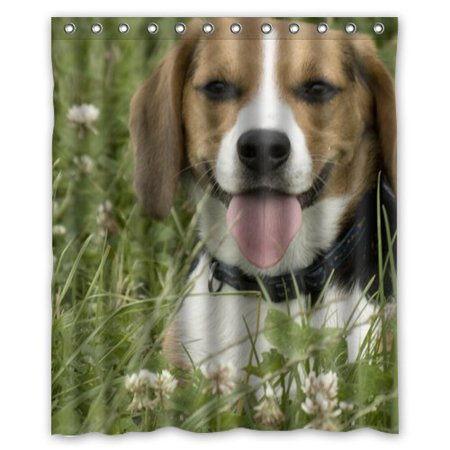 HelloDecor Beagle In The Flower And Grass Field Shower Curtain Polyester Fabric Bathroom Decorative Size 60x72 Inches