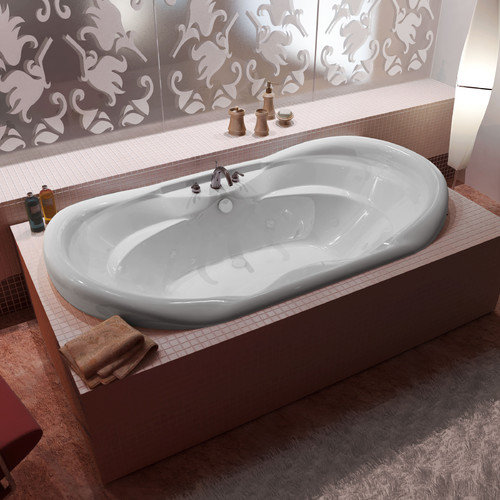 Spa Escapes Antigua 70'' x 41'' Oval Whirlpool Jetted Bathtub with Waterfall Filler and Center Drain