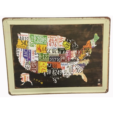 Retro Nostalgia Us Map Each State Filled With State License Plates - Us-map-with-license-plates