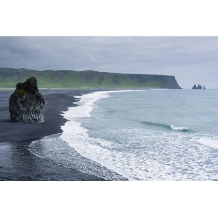 Iceland Dyrholaey Black Sand Beach And Sea Stack Print Wall Art By Inger Hogstrom
