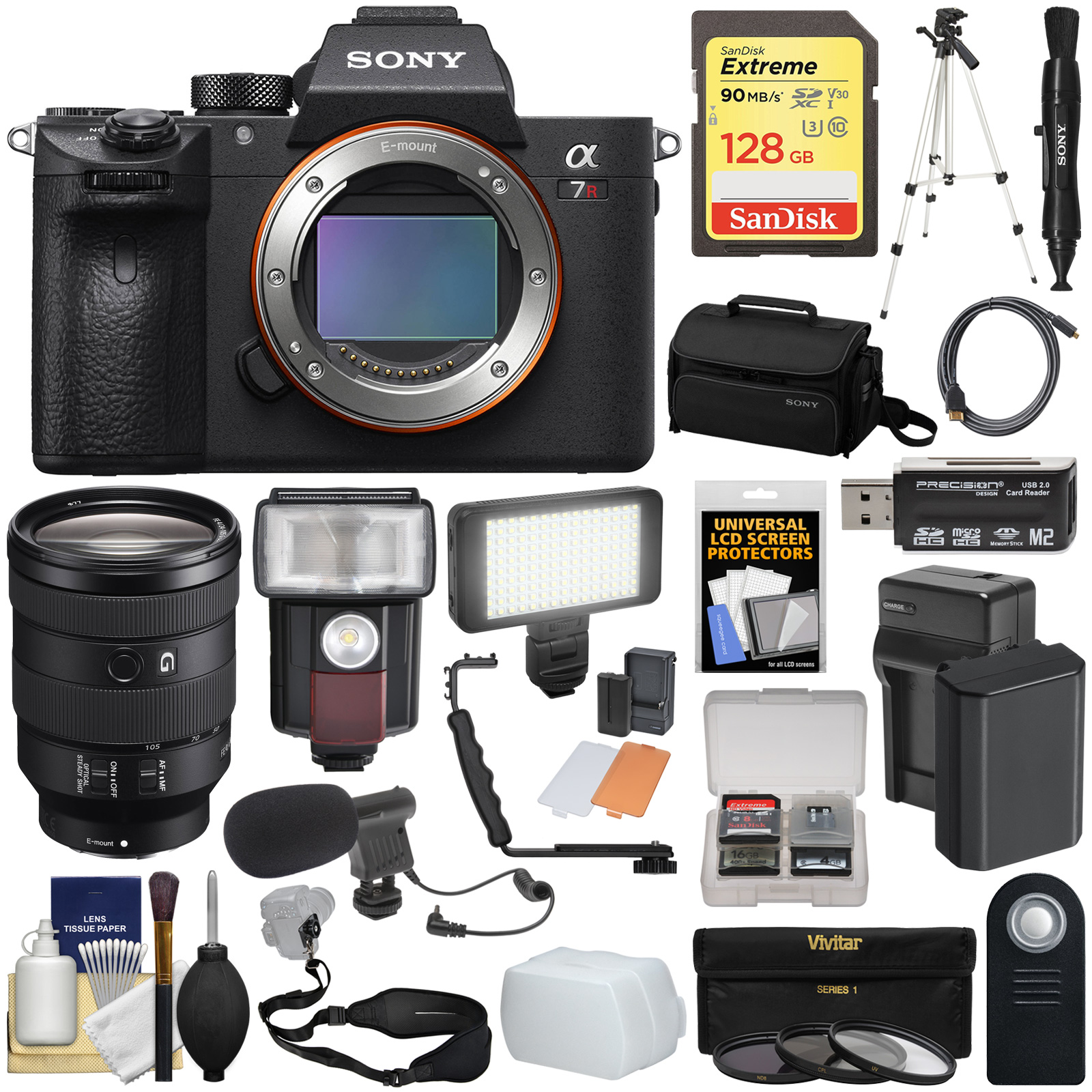 Sony Alpha A7R III 4K Wi-Fi Digital Camera Body with FE 24-105mm Lens + 128GB + Battery & Charger + Case + Tripod + Filters + Flash + LED + Mic + Kit
