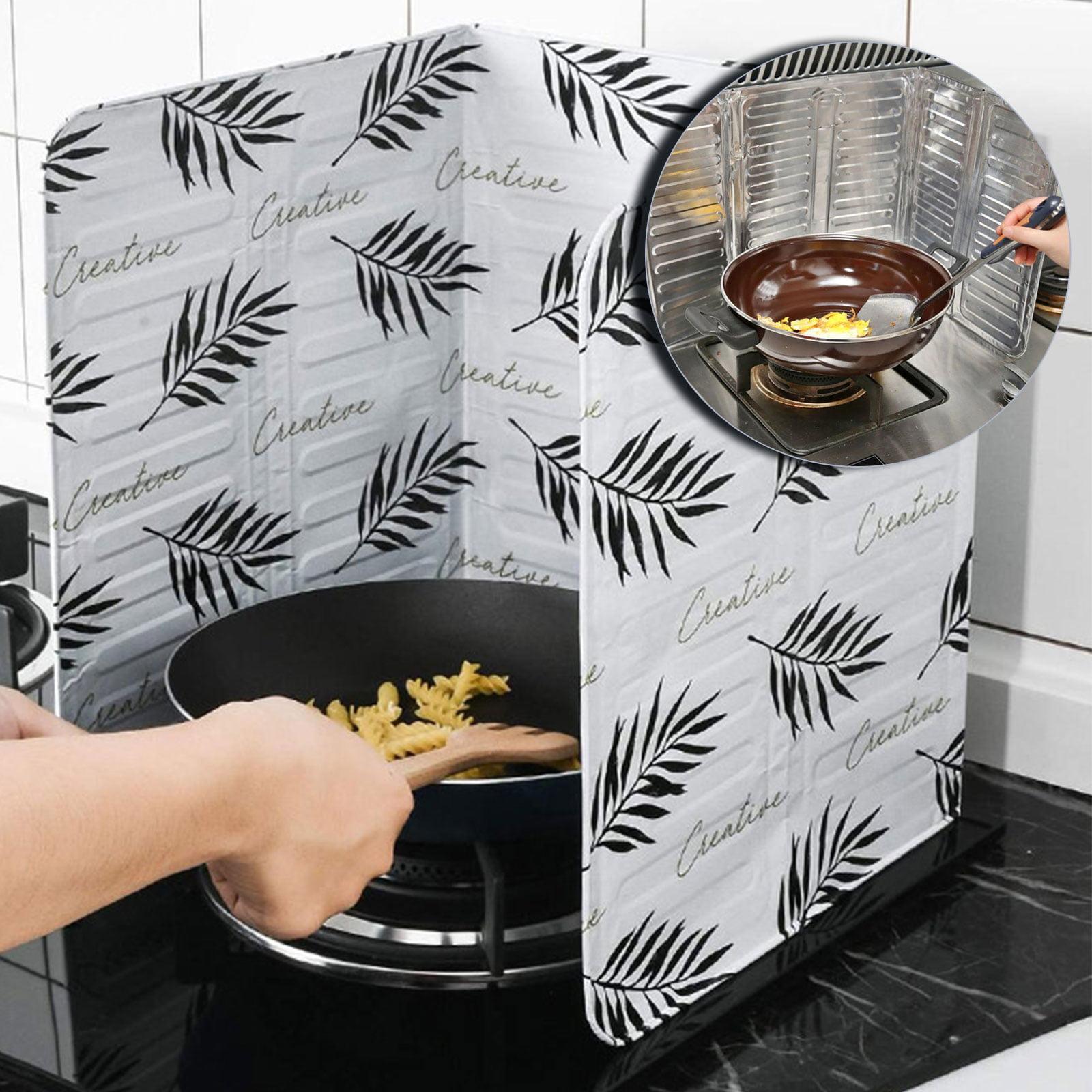 84x 33cm, Black Splatter Guard Home Kitchen Stove Foil Plate Prevent Oil Splash Cooking Hot Baffle Kitchen Tool