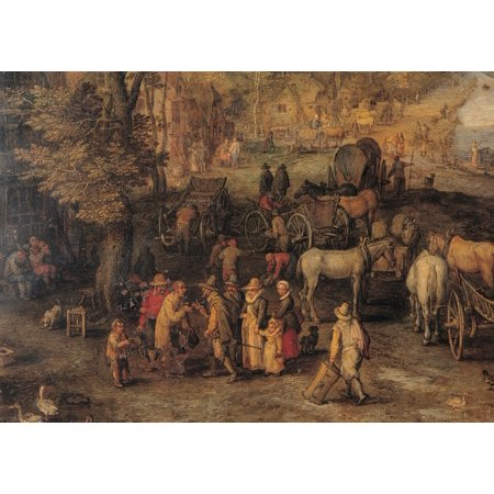 Bruegel Jan The Elder Known As Velvet Bruegel Village 17Th Century Oil On Copper Italy Lombardy Milan Brera Art Gallery Everett CollectionMondadori Portfolio Poster Print