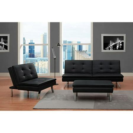 Chelsea 3-Piece Living Room set, Black (Covington Living Room Set)