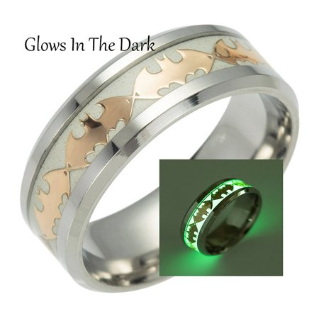 Glow in Dark Bats Stainless Steel Comfort Fit Band Ring - Ginger Lyne Collection (Glow In The Dark Wedding Rings)