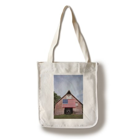 US Flag on Barn - Lantern Press Photography (100% Cotton Tote Bag - Reusable)