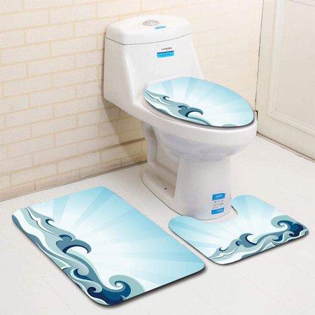 XDDJA sea Waves 3 Piece Bathroom Rugs Set Bath Rug Contour Mat and Toilet Lid Cover - image 1 of 2