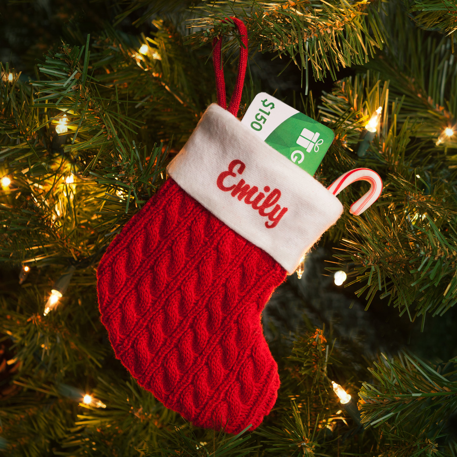 Personalized Mini Red Cable Knit Christmas Stocking