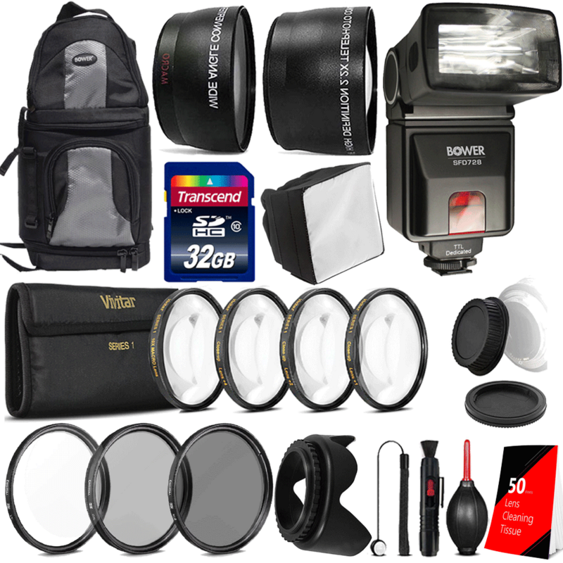 55mm Ultimate Accessory Bundle for Nikon Digital SLR Cameras with 18-55 AF-P Lens Includes TTL Flash + Flash Accessories + Filters + Telephoto and Wideangle Attachments and More Accessories